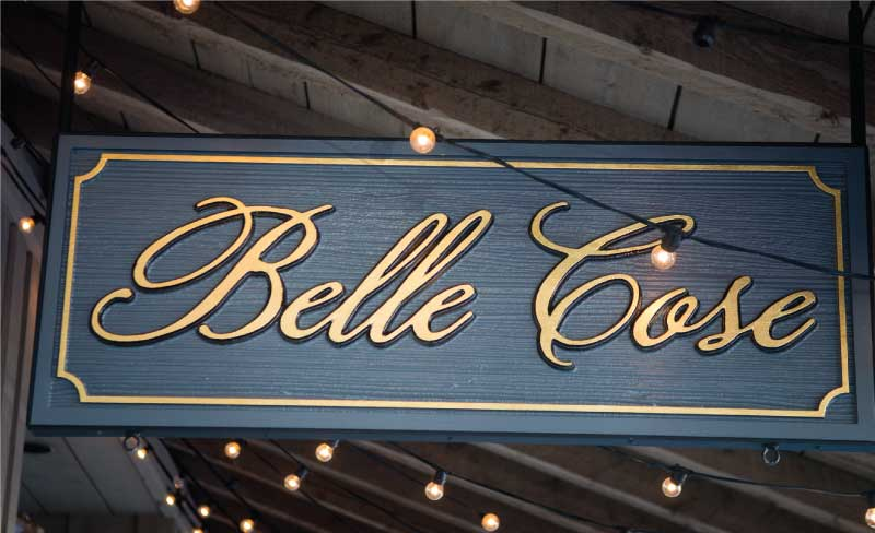 belle cose business sign Our Portfolio   Restaurant and Retail Signs in Jackson WY