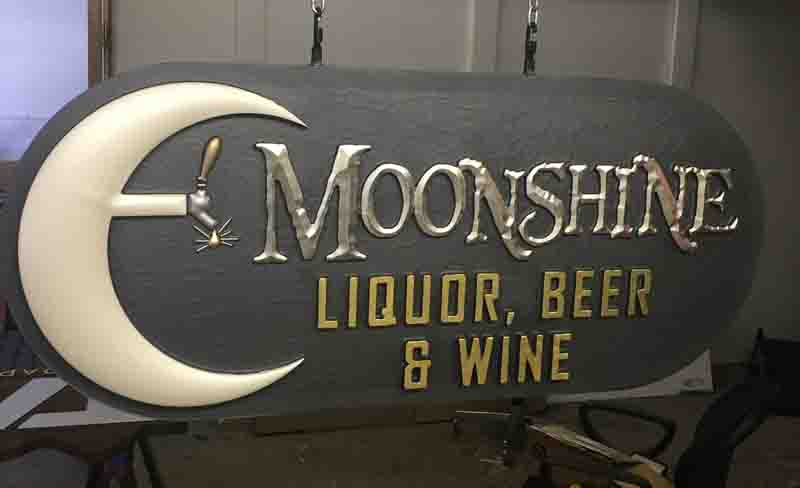 custom signs moonshine 2 Our Portfolio   Restaurant and Retail Signs in Jackson WY