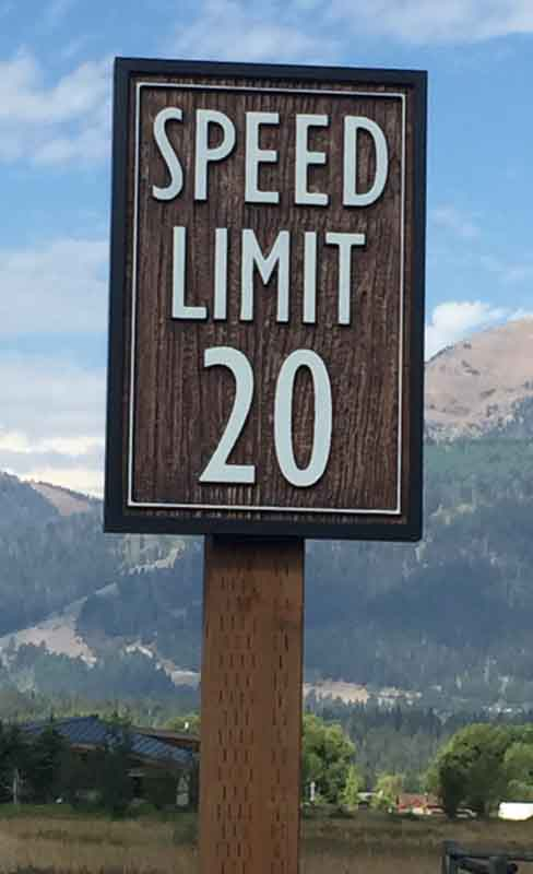 custom signs speed limit sign Our Portfolio   Restaurant and Retail Signs in Jackson WY