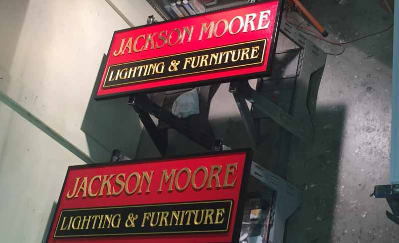 custom signs moore lighting furniture Our Portfolio   Restaurant and Retail Signs in Jackson WY